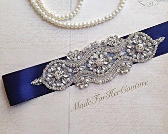 Wedding dress sash-wedding Sash Belt-Pearl Crystal Sash-Rhinestone belt-Navy Bridal Belt -Bridal Sash-Blue wedding Sash-Navy Blue Sash
