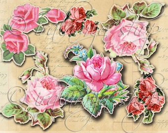 CUT OUT ROSeS No. 4 Printable Digital Images / printable Roses / Scrapbook / Roses Printable / Vintage Roses / Cut Outs / Roses / Flowers