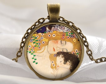 Mother and Child Necklace - Gustav Klimt Pendant - Art Gift for Mom and Her - Vintage Bronze Artist Jewelry