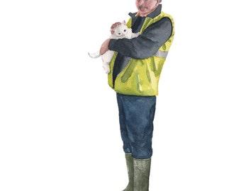 Cat lover gift, Gift for Animal Lover, Gift for Father, Gift for Farmer, Pet gift, Farmer illustration, Farmer art, Gift for a Vet
