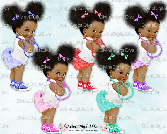 Ruffle Pants Natural Hair Pony Tails Afro Puffs Hot Pink