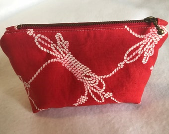 Red Nautical Rope Standing Zipper Pouch, Makeup Bag, cosmetic travel case, Purse organizer