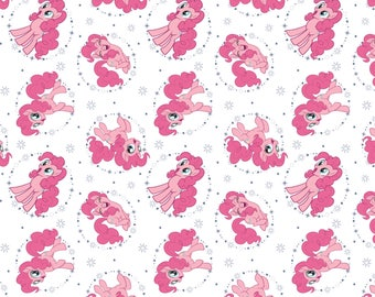 My Little Pony Fabric MLP Fabric Pinkie Pie in White  From Camelot 100% Cotton