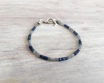 Saphir und minimale Labradorit Armband, Herren Armband, Herren Schmuck, minimalistischen Armband