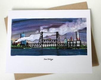 Steel Bridge with Rockets Notecard