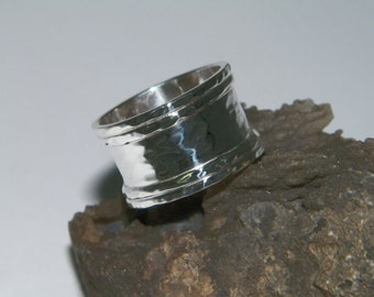 Handcrafted Hammered.925 Sterling Silver Band Ring Size -Custom Size