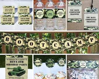 Army Party Decorations Package PRINTABLE Army Birthday Party Decor Kit INSTANT DOWNLOAD with Editable Text