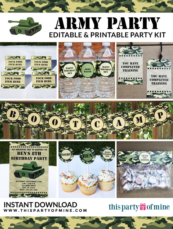Army Party Invitation Amp Decorations Kit Printable Military