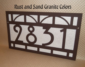 House number sign, Arts and Craft, Bungalow, Mission style, Metal art, Address sign, Street number, Number plate, Wall plaque, House Plaque
