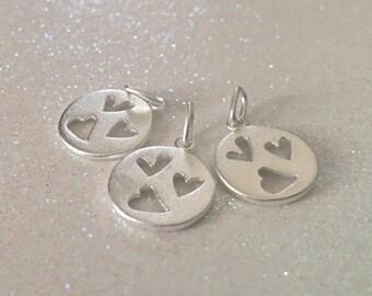 3 - Sterling silver triple cutout Heart Pendants, 3 Heart Pendants - Freeform Heart Charm, Romantic necklace - FAST SHIPPING