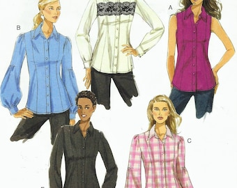 Womens Shirt with Sleeve Variations OOP Vogue Sewing Pattern V8598 Size 8 10 12 14 Bust 31 1/2 to 36 UnCut Vogue Basic Design Pattern