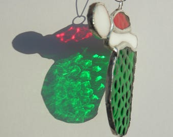 Christmas pickle hanging stained glass ornament