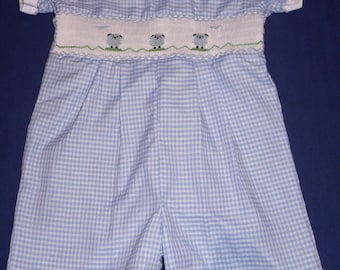 Hand smocked romper with sheep