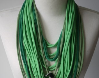 Upcycled t-shirt scarf: Funny greens with witch [374]