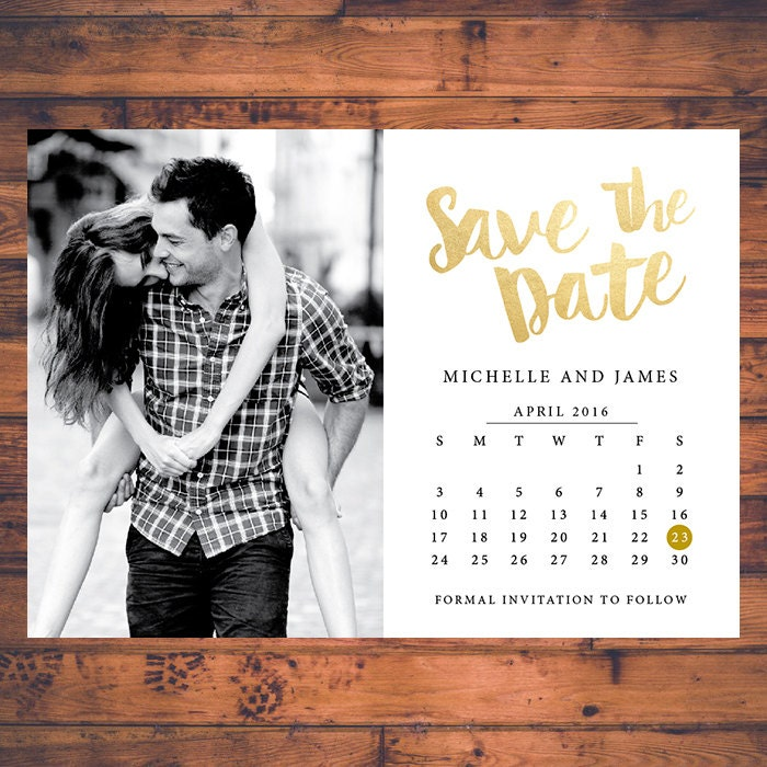 Save-the-date invitation calendar save the dates faux gold