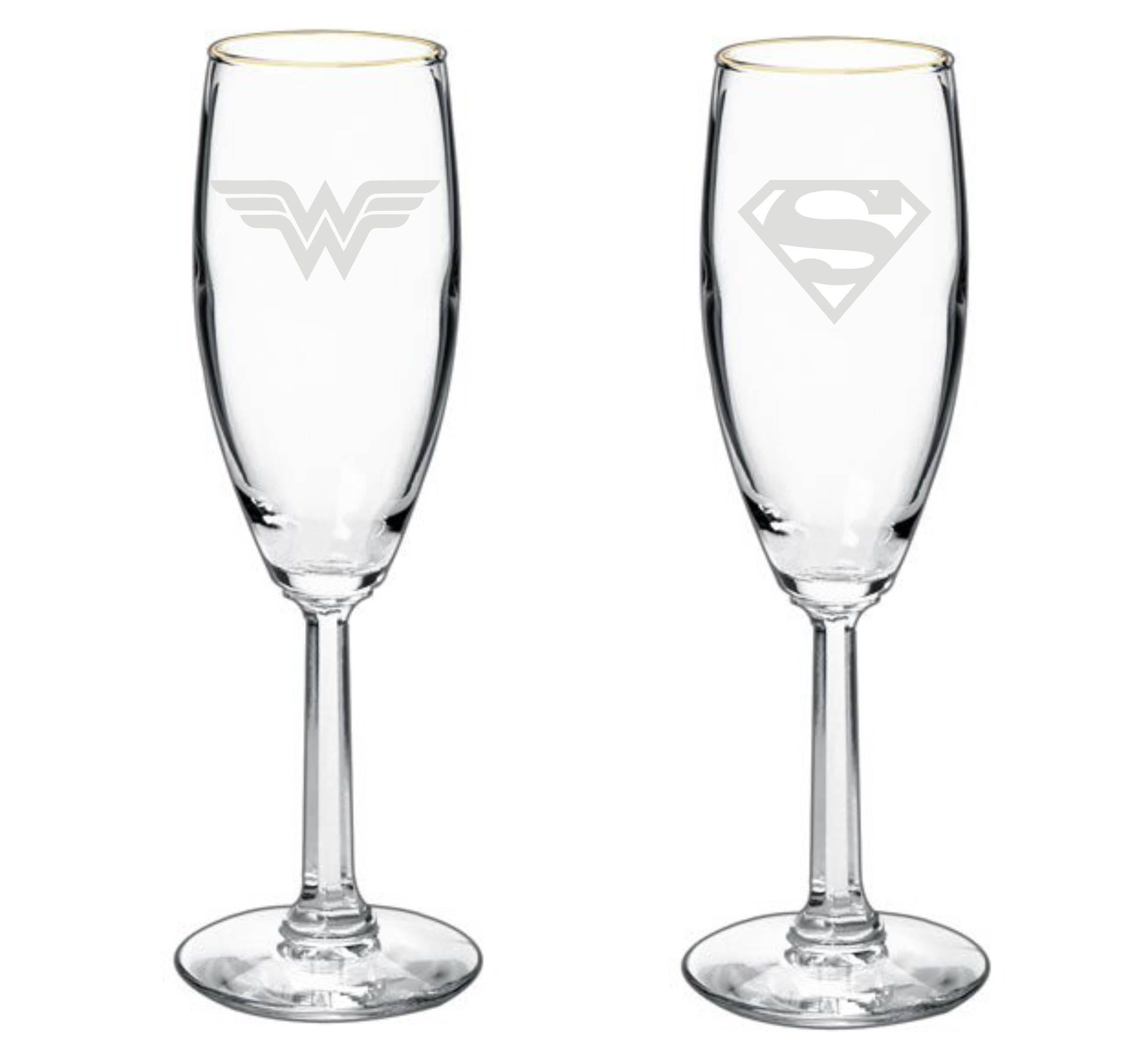 Superman & Wonder Woman Wedding Couple Toasting Glasses Bridal