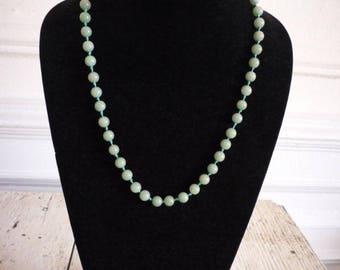 Vintage Moss Green Jade 8mm Bead Necklace