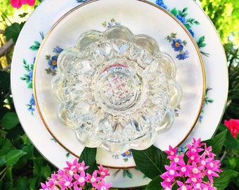 Lucy • Yard Art • Glass Garden Flower • Vintage Repurposed Floral Blue • China Decor • Shabby Chic