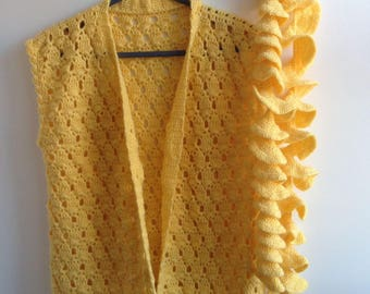 Yellow Knitted Woollen Cardigan/Sweater with scarf