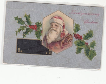 Santa Claus With Red Cap,Brown Coat,Santa Vignette,Holly, Silver Moire Like Ground Pattern,Antique Postcard