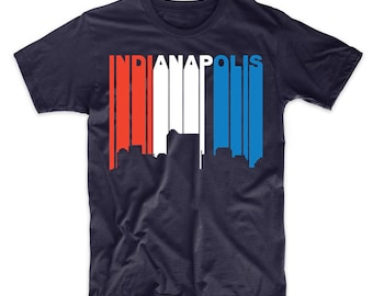 Retro Style Red White And Blue Indianapolis Indiana Skyline T-Shirt