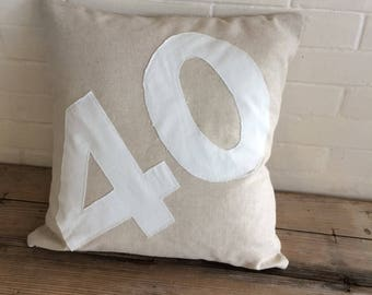 NUMBER 40 in linen and cotton Cushion cover