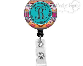 Retractable Badge Holder - Arrow Badge Reel - Aztec Tribal badge Reel - RN Badge Holder - Retractable Badge Reel - Initial Badge Reel - 0169