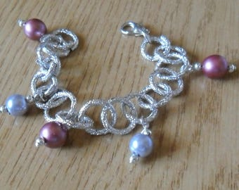 Purple and grey silver bracelet