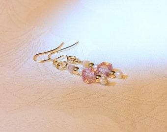 Pink Topaz Earrings, Pink Topaz Gold Earrings. December Birthstone