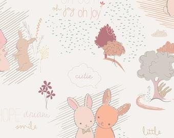 Bunnies Fabric, 1/2 yard, Furry Tales Sweet, Littlest Collection, Art Gallery Fabrics, Woodland Nursery Fabric, Peach Fabric, LT-20030