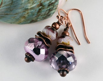 Metallic Purple Boho Chic Earrings Glass Beaded Jewelry