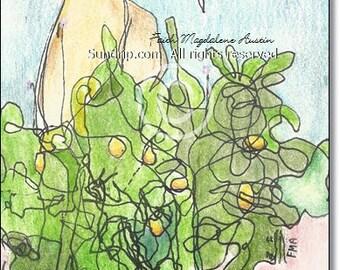Nursery Original Art Golden Egg Music Clef Goose Duck Swan