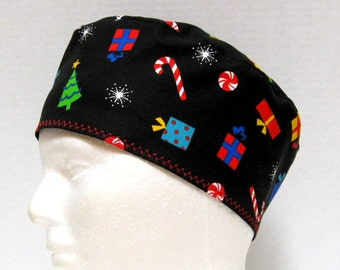 Mens Christmas Scrub Hat or Surgical Cap with Colorful Packages