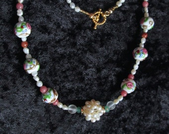 Vintage Murano Wedding Cake Beads necklace with vintage pearl cluster, freshwater pearls