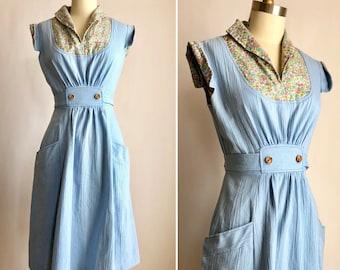 1970s summer dress S ~ vintage robins egg blue apron dress
