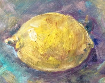 Lemon oil painting original art 4 x 6 ""