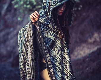 Tribal Sequin Shaman Cape (LEDs optional) - Unisex Burning Man Festival Ibiza Cloak
