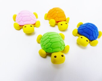 Set of 4 turtle erasers animal fun supply kit