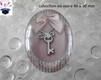 Pink 1 theme vintage 40x30mm glass cabochon