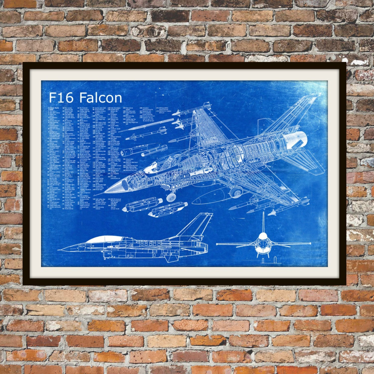 Blueprint art of f 16 falcon jet planetechnical drawings zoom malvernweather Choice Image