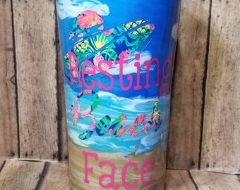 Beach Tumbler-Resting Beach Face-Customized Beach Cup-Personalized