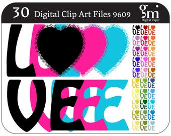 Love clipart, Love Clip Art, Digital Love, Love, Instant Download, The Word Love, Words, Word Clipart, Love Graphic