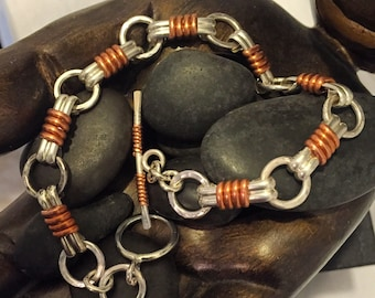 Sterling and Copper bracelet.  'Midnight Mango""