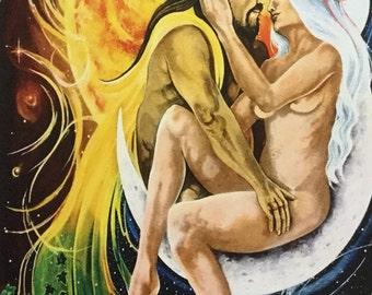 A4 Sun God and Moon Goddess Print