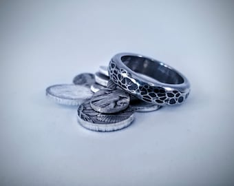 Hand Poured Hammered Silver Ring