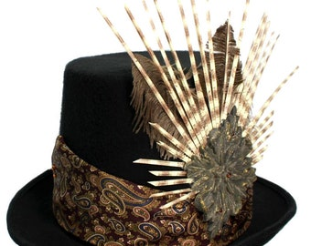 Black Wool Top Hat Professor Porcupine Wild Gothic Steampunk Traveler Mens Cosplay Spiky
