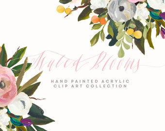 Hand Painted Flower Clip Art Collection - Muted Blooms