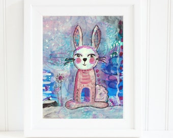Bunny Nursery Art,  8x10 Nursery Art, Instant Download Art, Whimsical Bunny