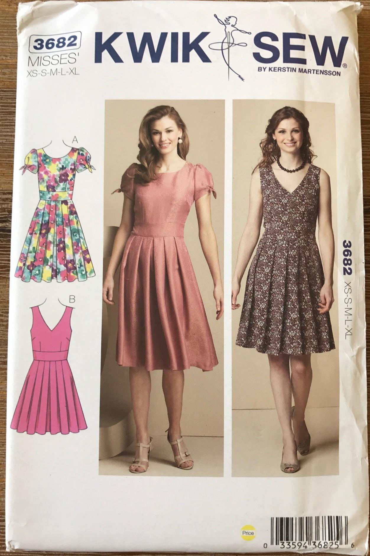 UNBESCHNITTENEN Kwik Nähen 3682 Kleid nähen Muster Größe XS-XL