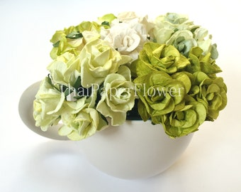 5 Green White Curly Mulberry Paper flower scrapbook card making home decor wedding craft supply Baby Showers G2/839